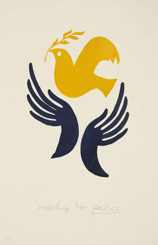 Illustrated hands embrace a golden peace dove.