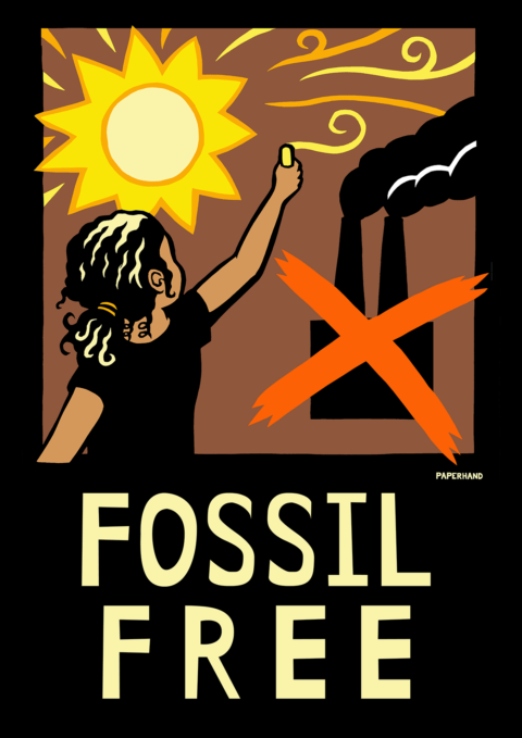 "Cutout illustration of a young girl painting a sun and crossing out a coal power plant. Reads ""FOSSIL FREE"""