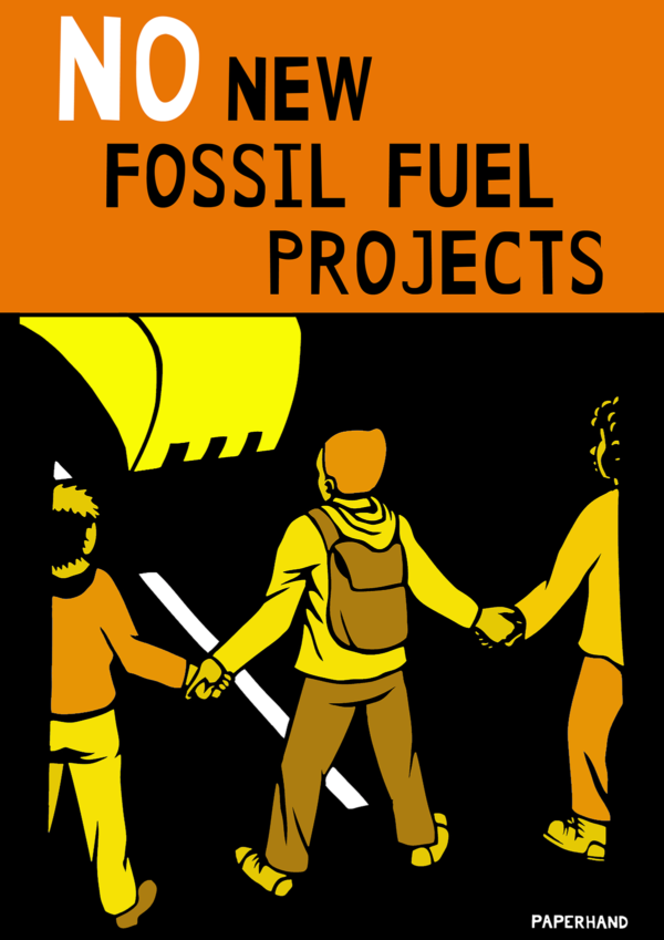 "Cutout illustration of of protestors blocking the path of a bulldozer. Reads ""NO New Fossil Fuel Projects."""