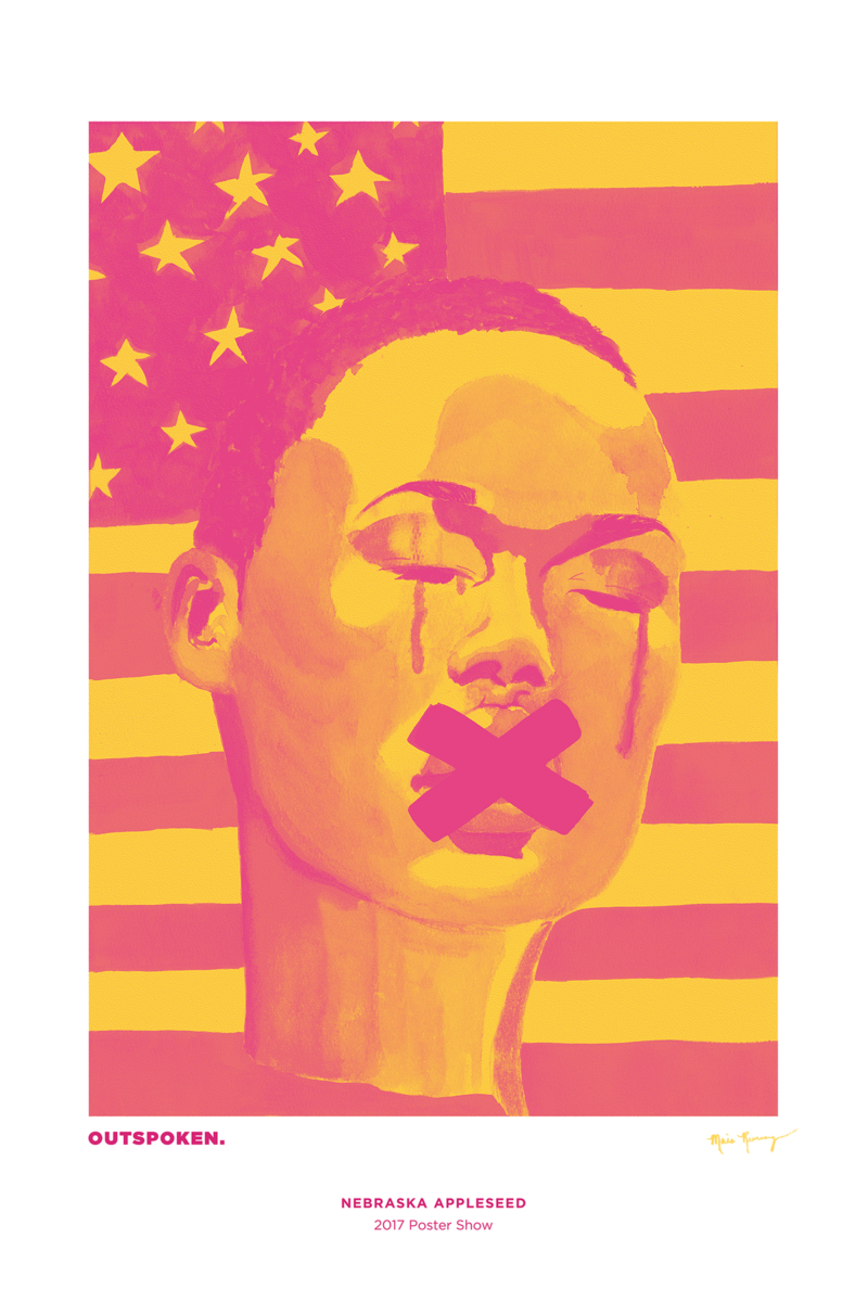 """A person of color with short hair, streaking their face, in front of an American flag. An """"X"""" covers their mouth."""