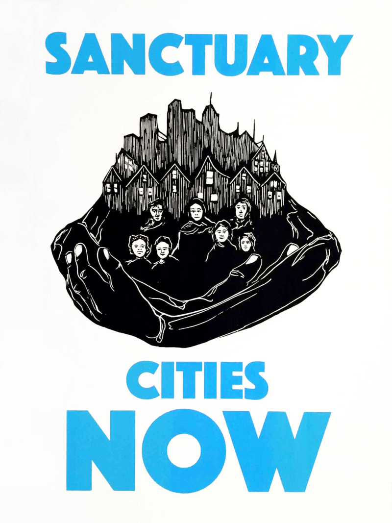 "BW illustration of arms embracing people standing in front of houses and buildings. Text says ""Sanctuary Cities Now."""