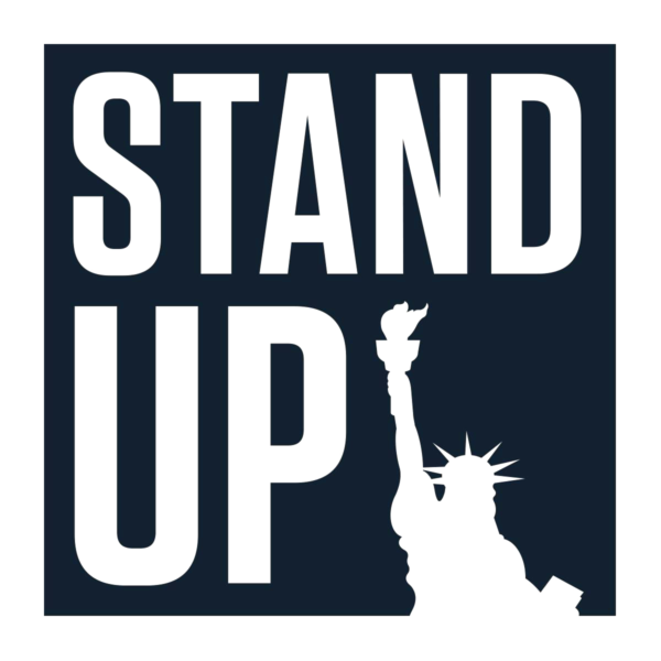 "Silhouette of the Statue of Liberty next to the words ""Stand Up."""