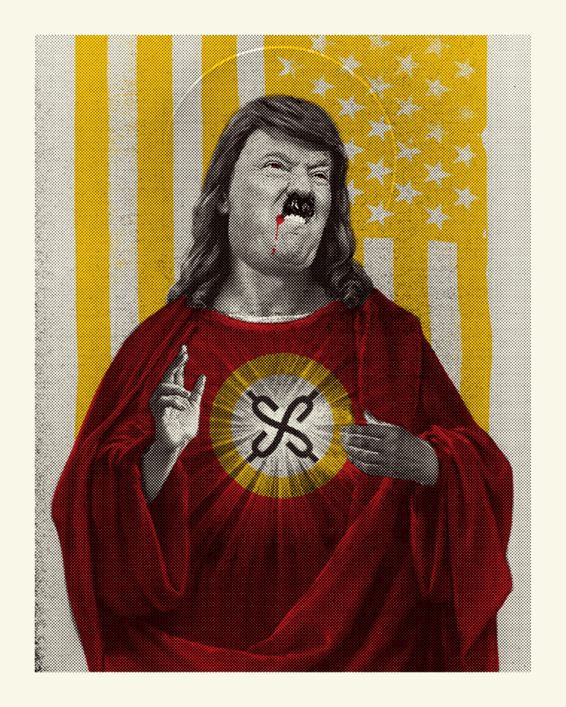 Bitmap poster of a Trump/Hitler face on a Jesus body with dollar signs on his robe standing against an American flag.