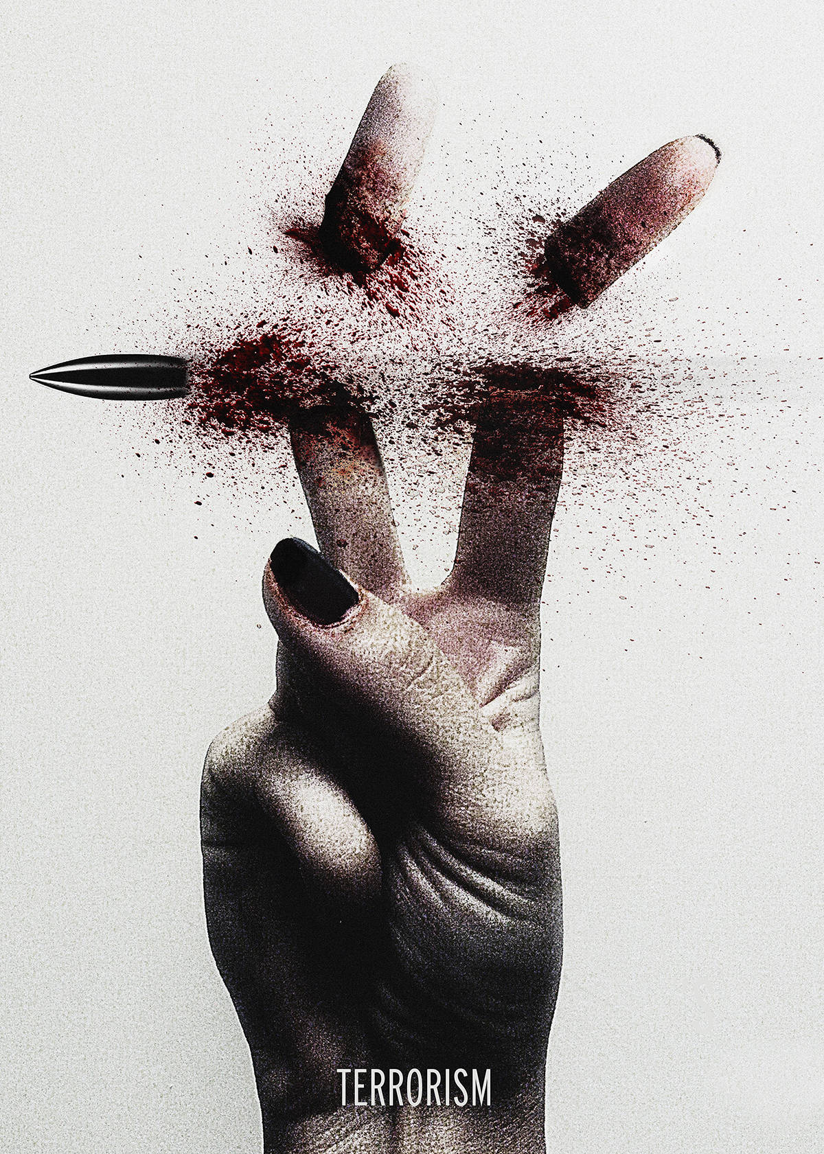 Gritty photo of a hand making a peace sign is bloodied by a bullet cutting off the fingers above the word 'Terrorism.'