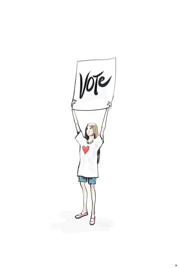 Illustration of a young girl with a shirt with a heart drawing holding a sign that reads VOTE