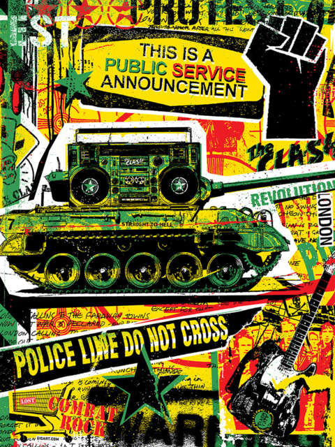 Red, green, yellow, and black collage of stars and musical imagery including a boombox on a tank and a raised fist.