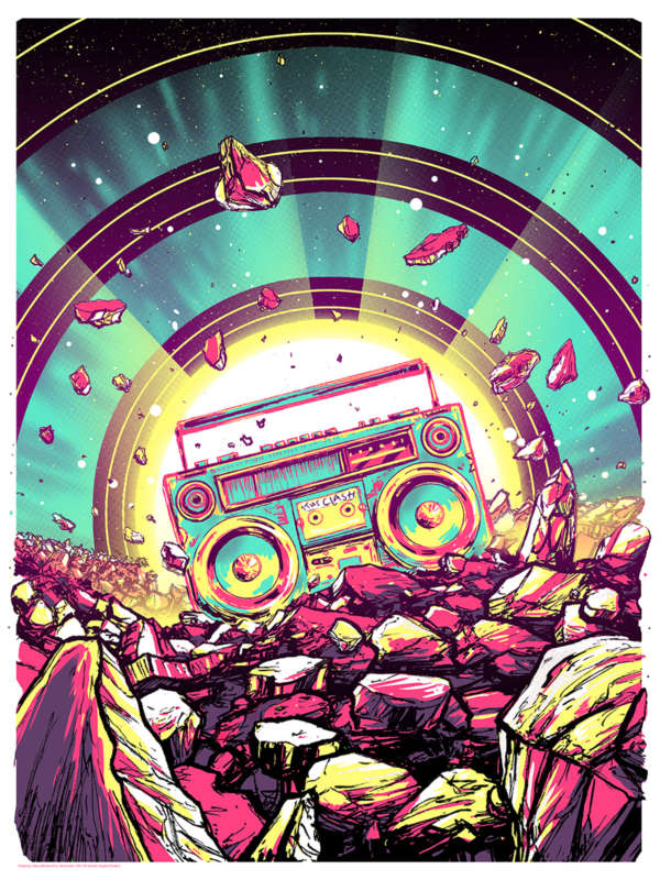 "Outer space illustration of space rocks and a very colorful boombox radiating light playing a cassette reading ""The Clash."""