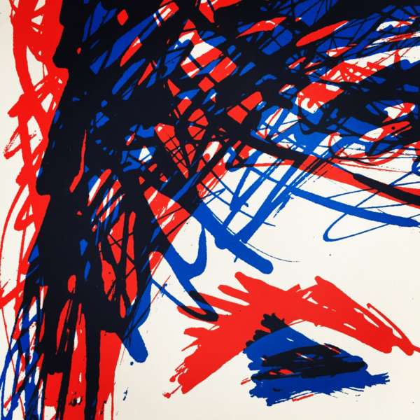 Red and blue ink strokes with what looks like an eye and eyebrow in the lower right corner.