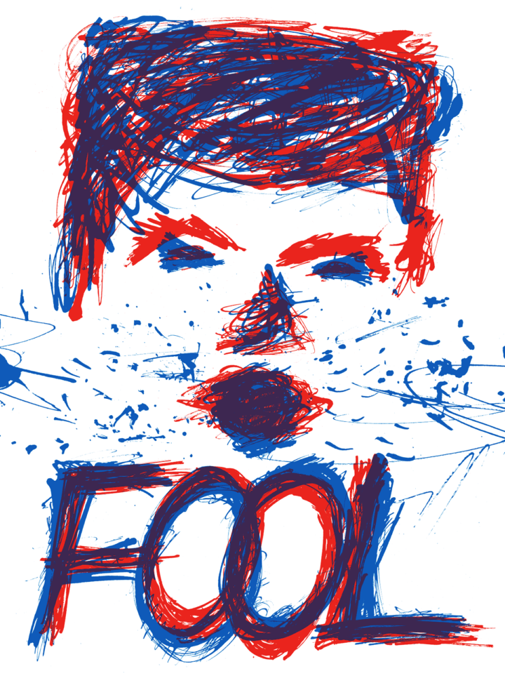 "Red and blue ink splattered portrait of Donald Trump's face above the word ""Fool."""