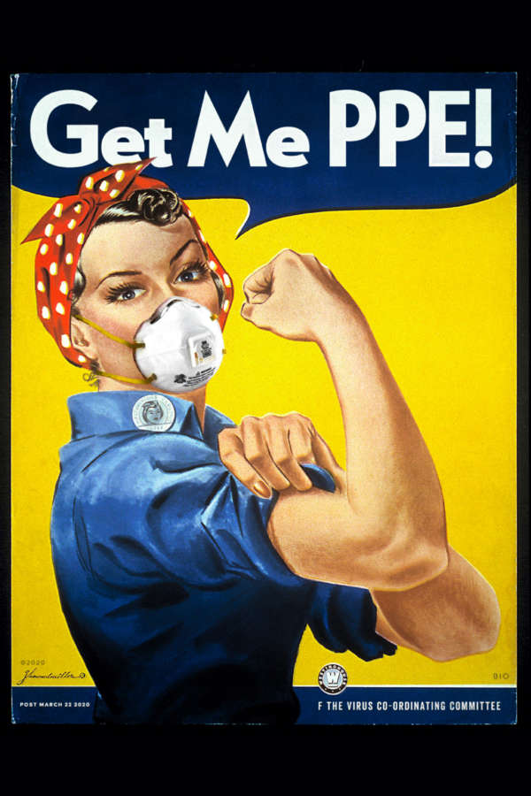 Howard Miller's iconic Rosie the Riveter poster with Rosie wearing an N95 mask.