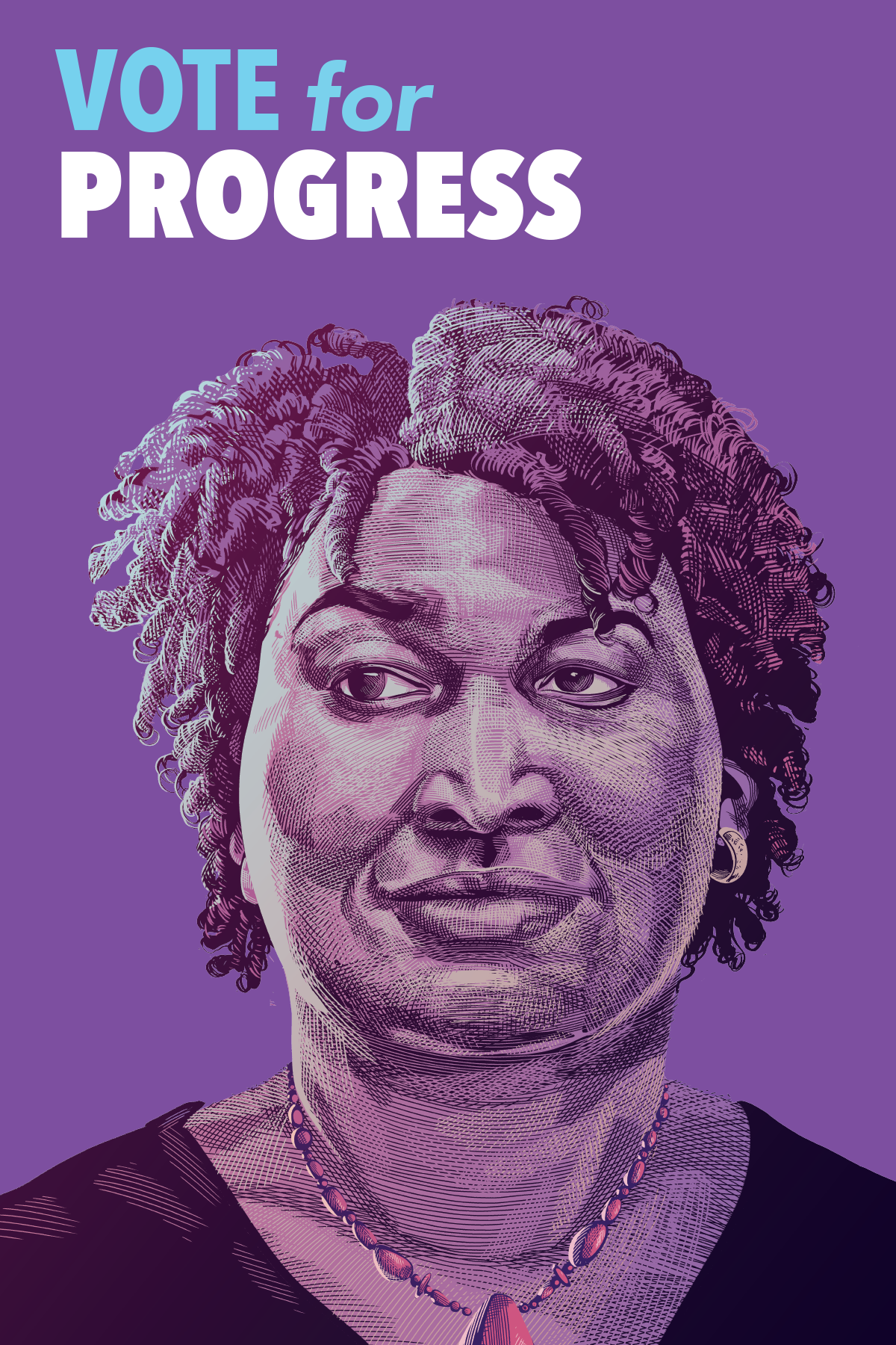 Purple poster with a drawing of Stacy Abrams for Governor of Georgia, reads 'Vote for Progress'