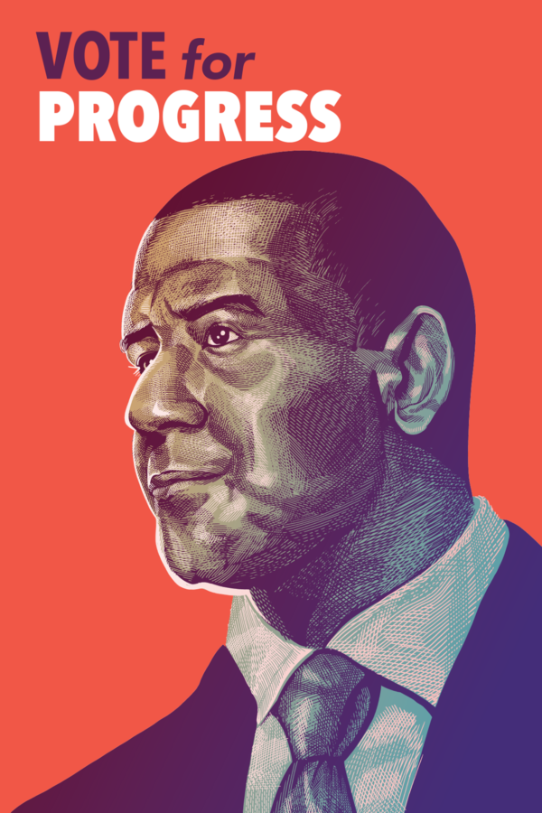 Purple poster with a drawing of Andrew Gillum for Governor of Florida, reads 'Vote for Progress'