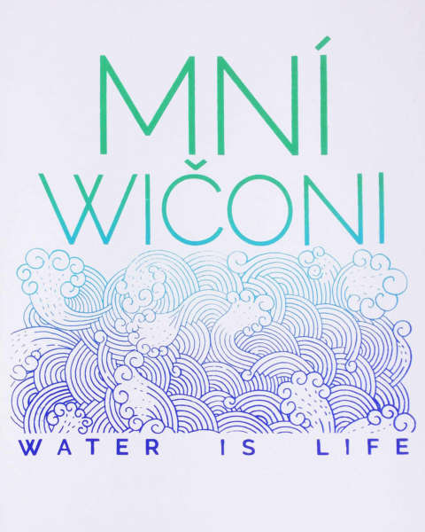"Linework drawing of swirling waves above the words ""Water Is Life."" The words ""Mní Wičoni"" are at the top of the print."