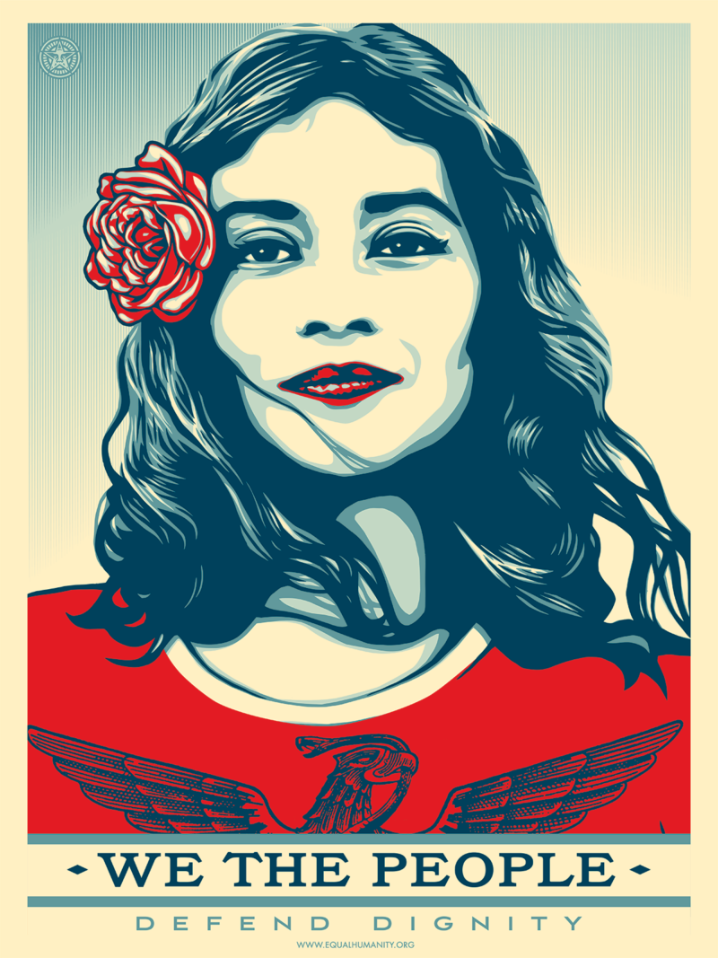 "Red, white, and blue vector illustration of a Latina woman with a flower in her hair above the words ""We The People."""