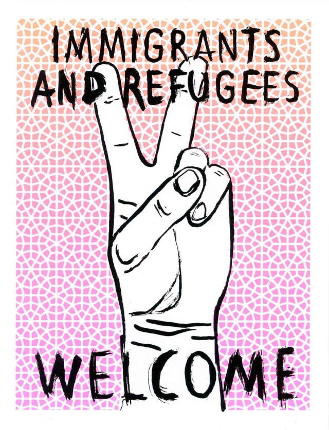 "The sketch of a hand making the peace sign under the words ""Immigrants and Refugees Welcome."""
